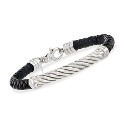 Phillip Gavriel Men's Black Leather Bracelet with Sterling Silver, , default