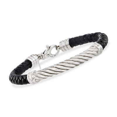 Phillip Gavriel Men's Black Leather Bracelet with Sterling Silver