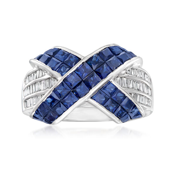 C. 1990 Vintage 1.96 ct. t.w. Sapphire and .30 ct. t.w. Diamond X Ring in 18kt White Gold. #954942