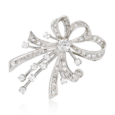 C. 1970 Vintage 2.05 ct. t.w. Diamond Bow Pin in 14kt White Gold