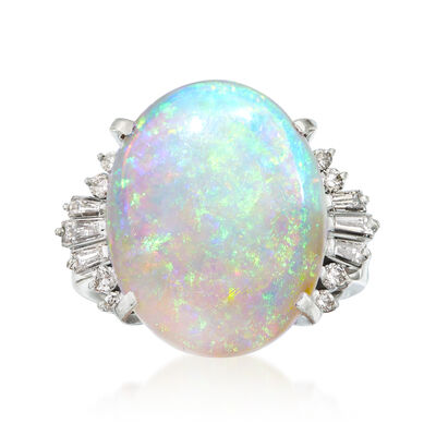 C. 1970 Vintage Opal and .39 ct. t.w. Diamond Ring in Platinum