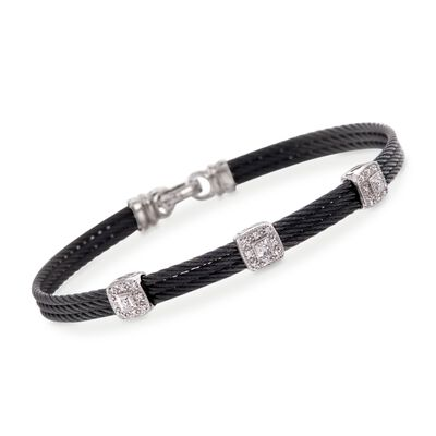 "ALOR ""Classique"" .14 ct. t.w. Diamond Station Black Cable Bracelet with 18kt White Gold, , default"