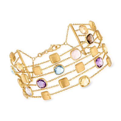 Italian 11.20 ct. t.w. Multi-Gemstone Six-Strand Bracelet in 14kt Yellow Gold, , default