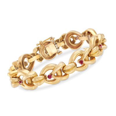 C. 1980 Vintage Tiffany Jewelry 1.00 ct. t.w. Ruby and 18kt Yellow Gold Link Bracelet, , default