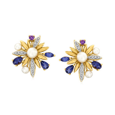 C. 1980 Vintage 4-6mm Cultured Pearl and 1.90 ct. t.w. Multi-Gemstone Flower Earrings with .30 ct. t.w. Diamonds in 14kt Yellow Gold