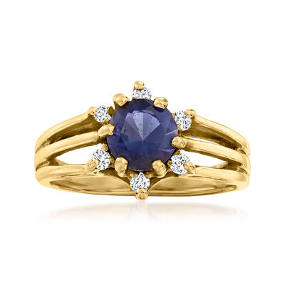 C. 1980 Vintage .60 Carat Iolite Ring with .12 ct. t.w. Diamonds in 14kt Yellow Gold