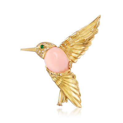 C. 1980 Vintage Pink Opal and .14 ct. t.w. Diamond Hummingbird Pin in 18kt Yellow Gold with Emerald Accents
