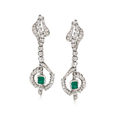 C. 1970 Vintage 1.50 ct. t.w. Diamond and .50 ct. t.w. Emerald Drop Earrings in 18kt White Gold