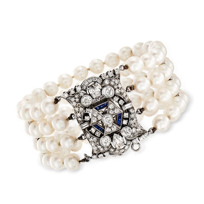C. 1950 Vintage 6.5mm Cultured Pearl and 4.05 ct. t.w. Diamond Bracelet in Platinum, , default