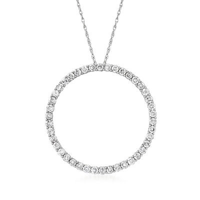 C. 1990 Vintage 1.05 ct. t.w. Diamond Circle Pendant Necklace in 14kt White Gold