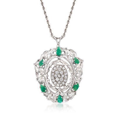 C. 1980 Vintage 2.10 ct. t.w. Emerald and 1.40 ct. t.w. Diamond Leaf Pendant Necklace in 14kt White Gold