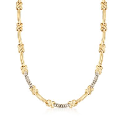 C. 1980 Vintage .60 ct. t.w. Diamond X Link Necklace in 14kt Yellow Gold with White Rhodium