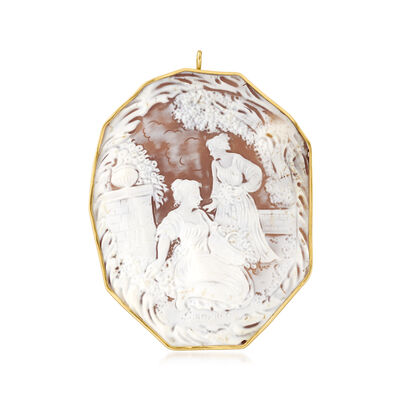 C. 1950 Vintage Pink Shell Cameo Pin/Pendant in 18kt Yellow Gold