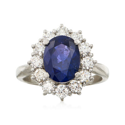 C. 1990 Vintage 3.06 Carat Sapphire and .90 ct. t.w. Diamond Ring in Platinum