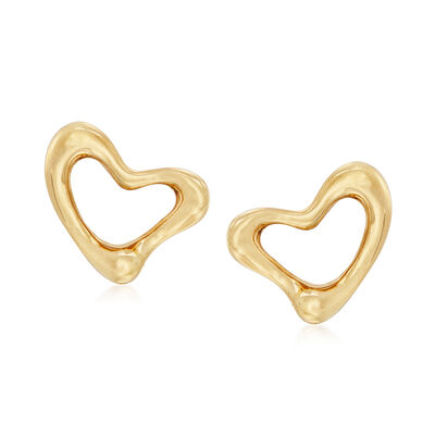 "C. 1990 Vintage Tiffany Jewelry ""Elsa Peretti"" 18kt Yellow Gold Heart Clip-On Earrings, , default"