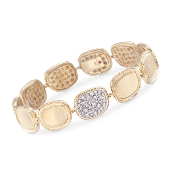Roberto Coin .84 Carat Total Weight Diamond Bracelet in 18-Karat Yellow Gold. 7""