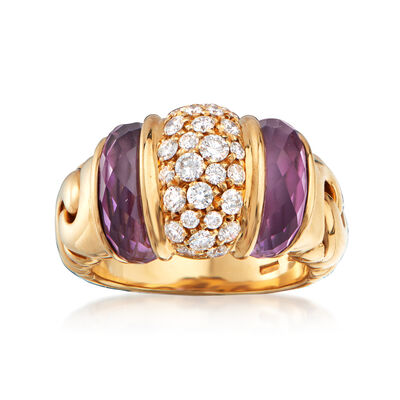 C. 1990 Vintage Bulgari 4.50 ct. t.w. Amethyst and .65 ct. t.w. Diamond Ring in 18tk Yellow Gold