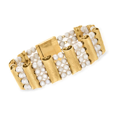 C. 1960 Vintage 4-4.5mm Cultured Pearl Section Bracelet in 14kt Yellow Gold
