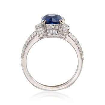 C. 2000 Vintage 2.68 Carat Sapphire and .80 ct. t.w. Diamond Ring in 18kt White Gold. Size 6.5