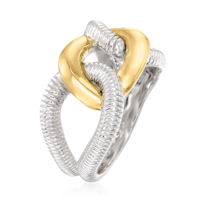 """Judith Ripka """"Eternity"""" Sterling Silver and 18kt Yellow Gold Interlocking-Link Ring"""