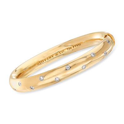 "C. 1980 Vintage Tiffany Jewelry ""Etoile"" .50 ct. t.w. Diamond Bangle in 18kt Yellow Gold with Platinum, , default"