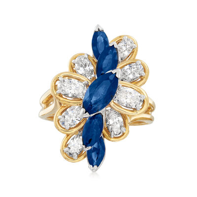 C. 1980 Vintage Oscar Heyman 2.20 ct. t.w. Sapphire and 2.00 ct. t.w. Diamond Ring in Platinum and 18kt Yellow Gold, , default