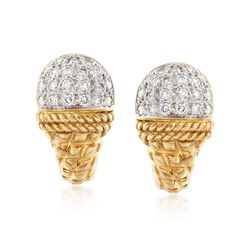 C. 1990 Vintage Cassis 1.00 ct. t.w. Diamond Dome Top Earrings in 18kt Yellow Gold, , default