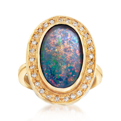 C. 1980 Vintage Black Opal and  .30 ct. t.w. Diamond Ring in 14kt Yellow Gold, , default