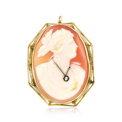 C. 1950 Vintage Pink Shell Cameo Pin Pendant with Diamond Accent in 14kt Yellow Gold, , default