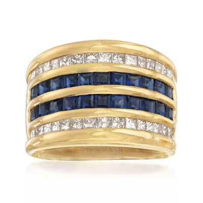 C. 1980 Vintage 2.93 ct. t.w. Sapphire and 1.00 ct. t.w. Diamond Multi-Row Ring in 18kt Yellow Gold, , default