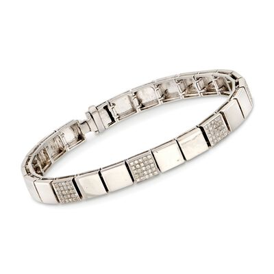 C. 1990 Vintage .80 ct. t.w. Diamond Square Link Bracelet in 18kt White Gold