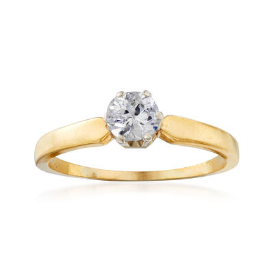 C. 1970 Vintage .55 Carat Diamond Ring in 18kt Yellow Gold, , default