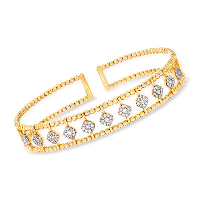 Gabriel Designs .71 ct. t.w. Diamond Cluster Center Row Cuff Bracelet in 14kt Yellow Gold