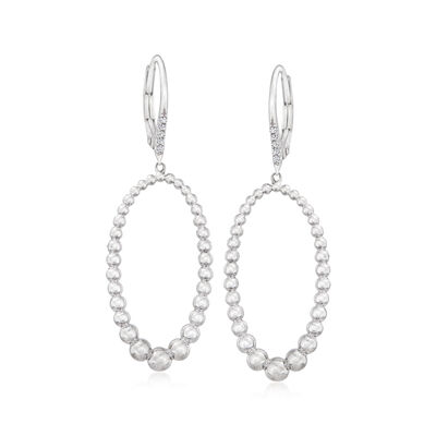 Gabriel Designs Sterling Silver Oval Drop Earrings with White Sapphire Accents