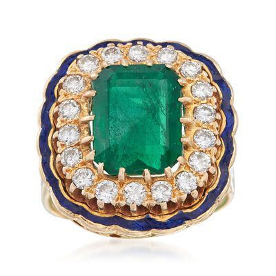 C. 1960 Vintage 3.90 Carat Emerald and .90 ct. t.w. Diamond Ring with Blue Enamel in 14kt Yellow Gold, , default