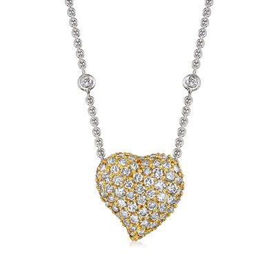 C. 1990 Vintage 4.50 ct. t.w. Diamond Heart and Station Necklace in 18kt Two-Tone Gold, , default