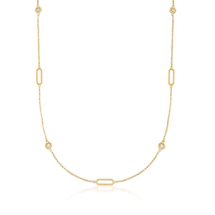 """Roberto Coin """"Barocco"""" .19 ct. t.w. Diamond Station Necklace in 18kt Yellow Gold"""