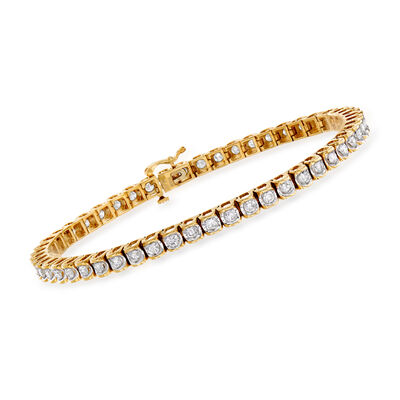 C. 1990 Vintage 3.00 ct. t.w. Diamond Tennis Bracelet in 14kt Yellow Gold