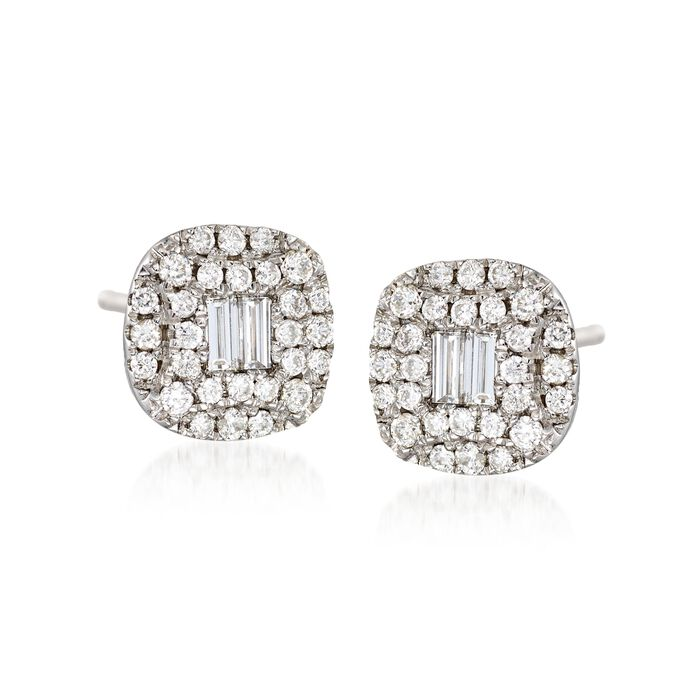 Gregg Ruth .58 Carat Total Weight Baguette and Round Diamond Studs in 18-Karat White Gold