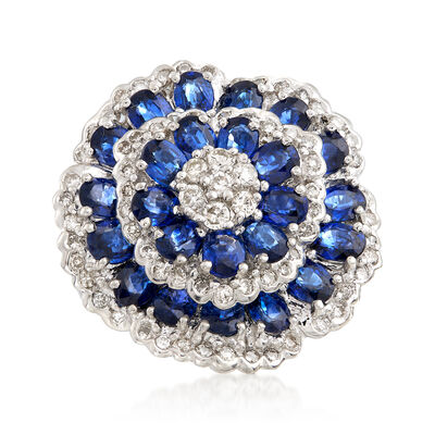 C. 2000 Vintage 5.50 ct. t.w. Sapphire and 1.00 ct. t.w. Diamond Cluster Ring in Platinum