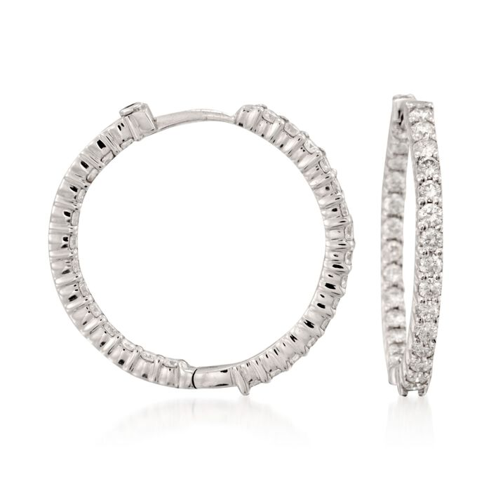 Roberto Coin 1.55 Carat Total Weight Diamond In-And-Out  Hoops in 18-Karat White Gold, , default