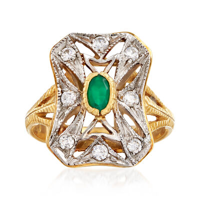 C. 1980 Vintage Green Chalcedony and .35 ct. t.w. CZ Ring in 18kt Two-Tone Gold, , default