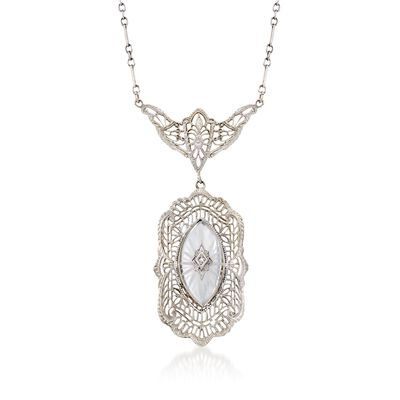 C. 1950 Vintage Frosted Rock Crystal Filigree Necklace with Diamond Accent in 14kt White Gold, , default
