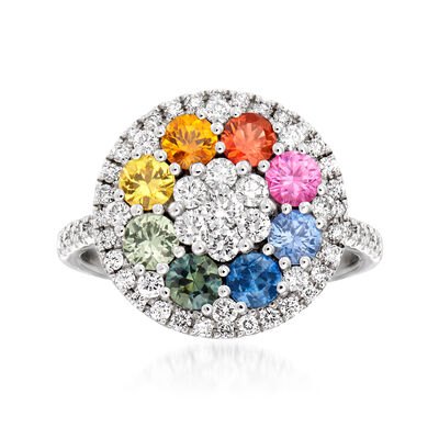 C. 1990 Vintage 1.30 ct. t.w. Multicolored Sapphire and .66 ct. t.w. Diamonds in 18kt White Gold