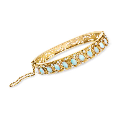 C. 1980 Vintage Opal and .75 ct. t.w. Diamond Bangle Bracelet in 14kt Yellow Gold, , default