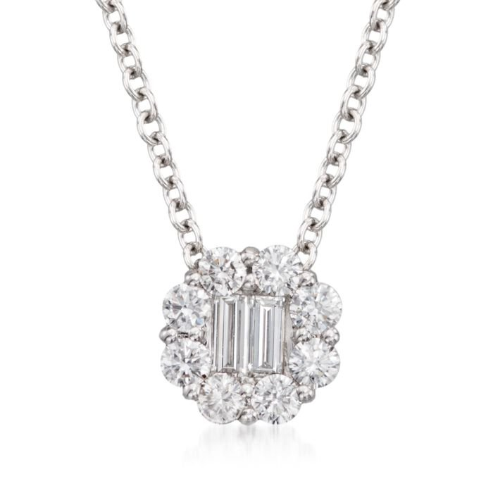 "Gregg Ruth .45 Carat Total Weight Diamond Circle Necklace in 18-Karat White Gold. 18"", , default"