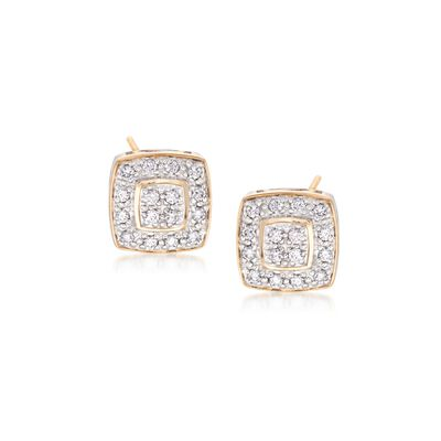 "ALOR ""Classique"" .27 ct. t.w. Diamond Square Stud Earrings in 18kt Yellow Gold, , default"