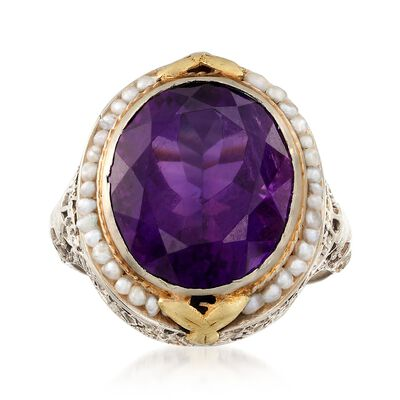C. 1950 Vintage 7.60 Carat Amethyst and Pearl Ring in 14kt Two-Tone Gold, , default