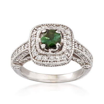 C. 2000 Vintage 1.30 ct. t.w. Diamond and .45 Carat Tourmaline Ring in 14kt White Gold, , default