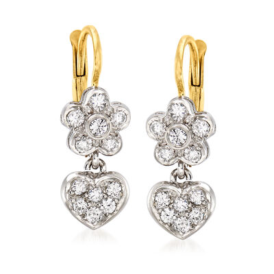 C. 1980 Vintage .50 ct. t.w. Diamond Flower and Heart Drop Earrings in 14kt Two-Tone Gold
